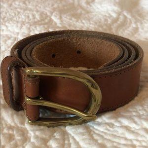 J. Crew Italian leather brown belt & gold buckle